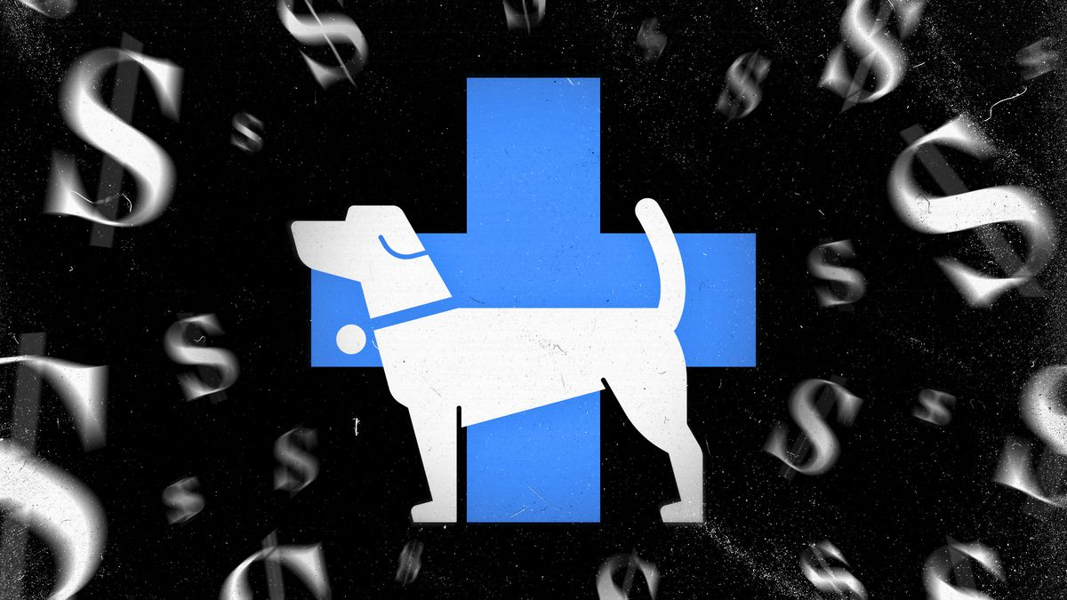 Illustration of a dog standing by a blue cross, with dollar signs floating around it.