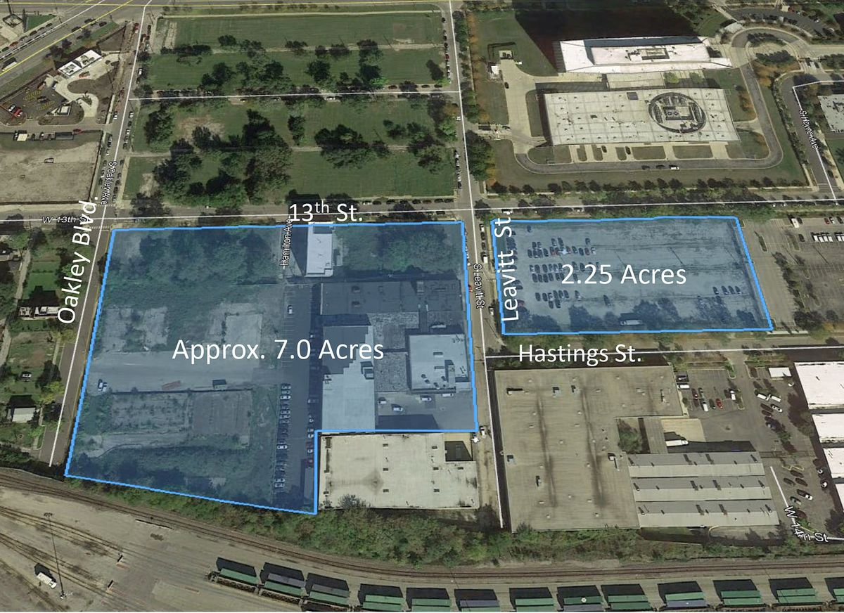 Google Earth illustration from Illinois Medical District development plans document.