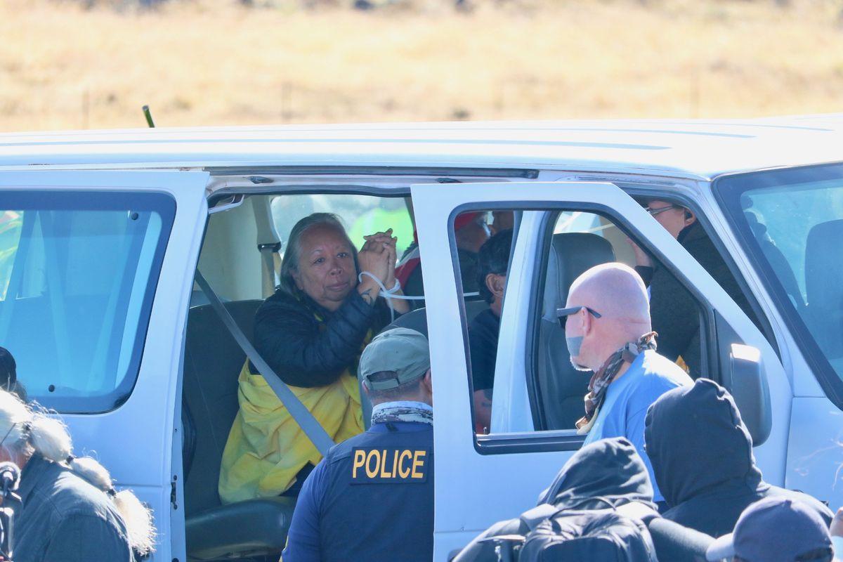 Maunakea protector Noe Noe Wong-Wilson in a police van with handcuffs