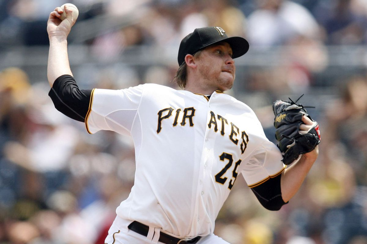 July 4, 2012; Pittsburgh, PA, USA; Pittsburgh Pirates starting pitcher Kevin Correia (29) throws against the Houston Astros during the fifth inning at PNC Park. The Pittsburgh Pirates won 6-4. Mandatory Credit: Charles LeClaire-US PRESSWIRE