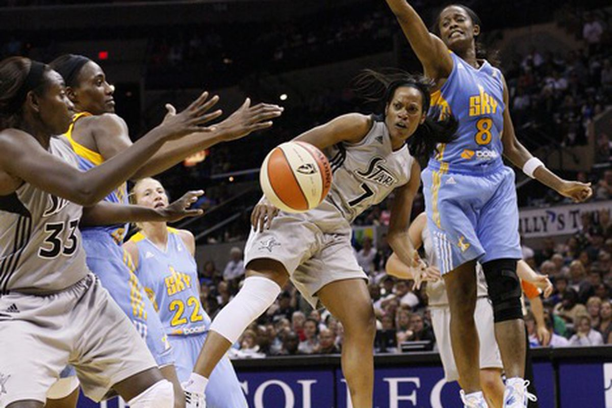 May 30, 2012; San Antonio, TX, USA; San Antonio Silver Stars guard Jia Perkins (7) passes to teammate Sophia Young (33) during the second half against the Chicago Sky at the AT&T Center. <em>Photo by Soobum Im-US PRESSWIRE.</em>
