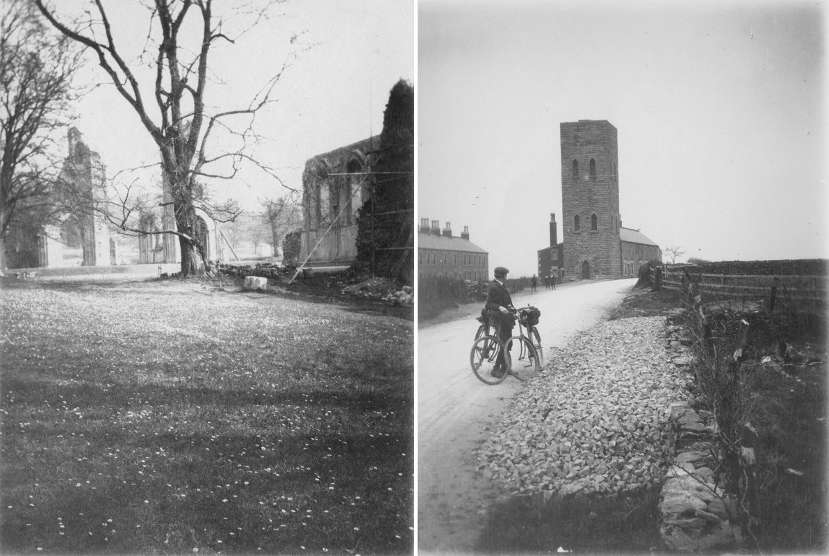 Two photographs: on the left, Glastonbury, Somerset, and on the right, Turner's Tower, near Hemington, Somerset