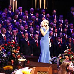 Guest artist Katherine Jenkins performs with Mormon Tabernacle Choir and Orchestra at Temple Square during dress rehearsal July 19, 2012 for Pioneer Day Concert.