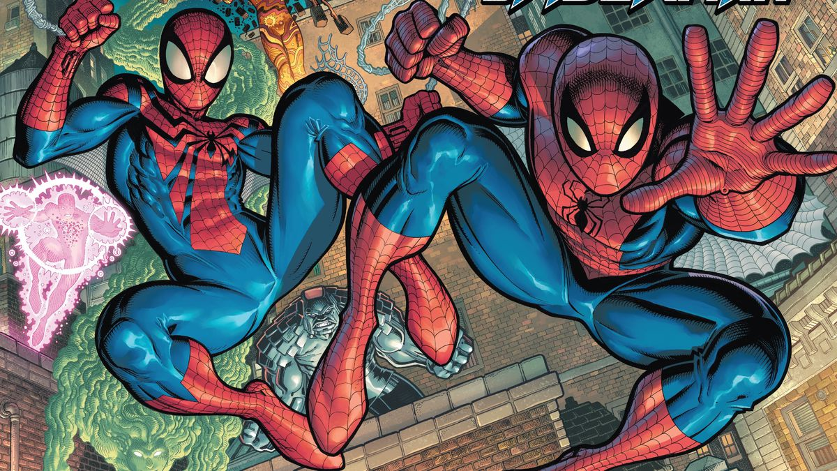 Spider-Man (Peter Parker) and Spider-Man (Ben Reilly) swing across the city on the cover of The Amazing Spider-Man #75 (2021).
