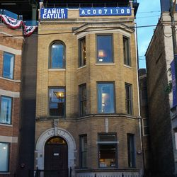 """The """"EAMUS CATULI"""" building on Sheffield Avenue, holding at 108 years"""