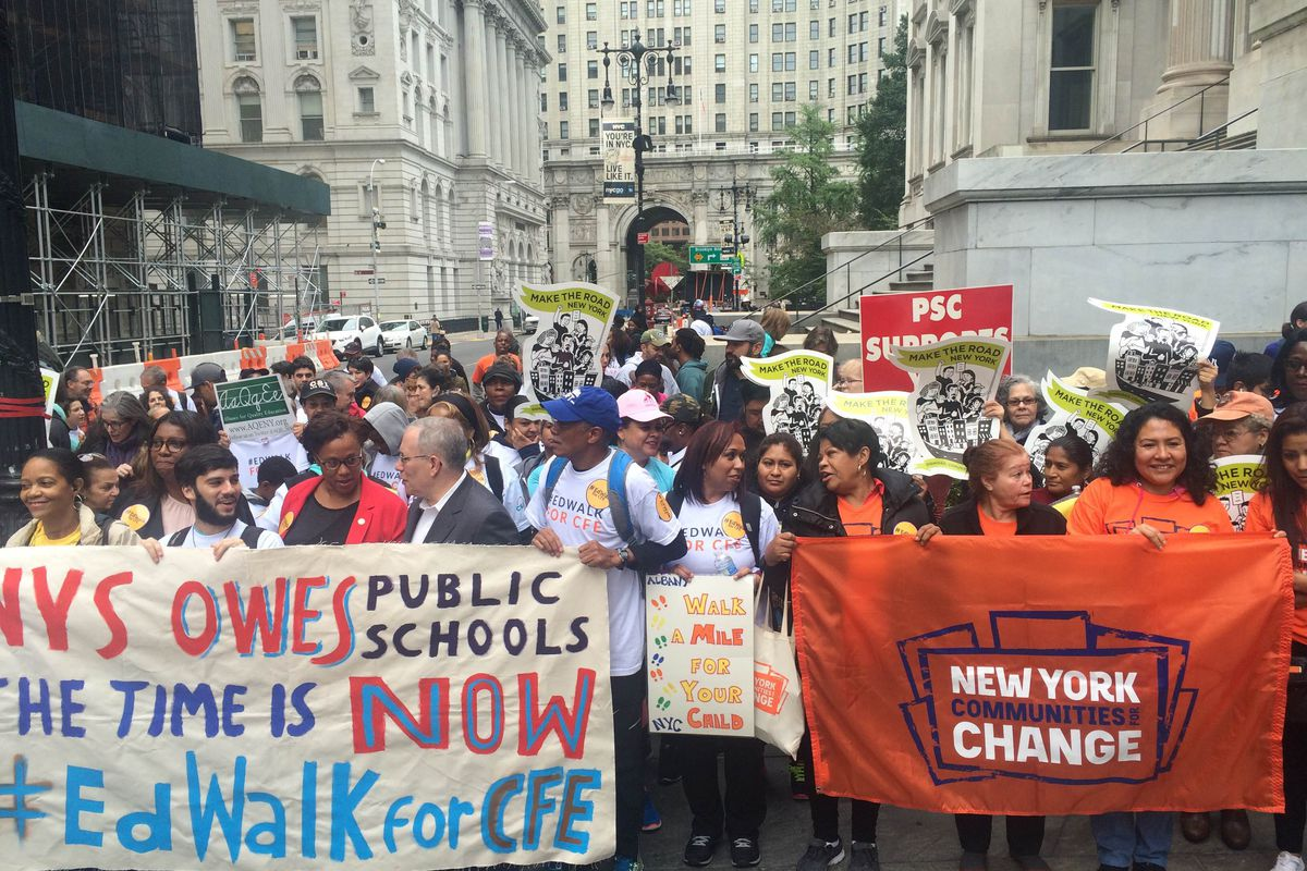 Supporters of the Campaign for Fiscal Equity gather in 2016 before their 150-mile walk from New York City to Albany.