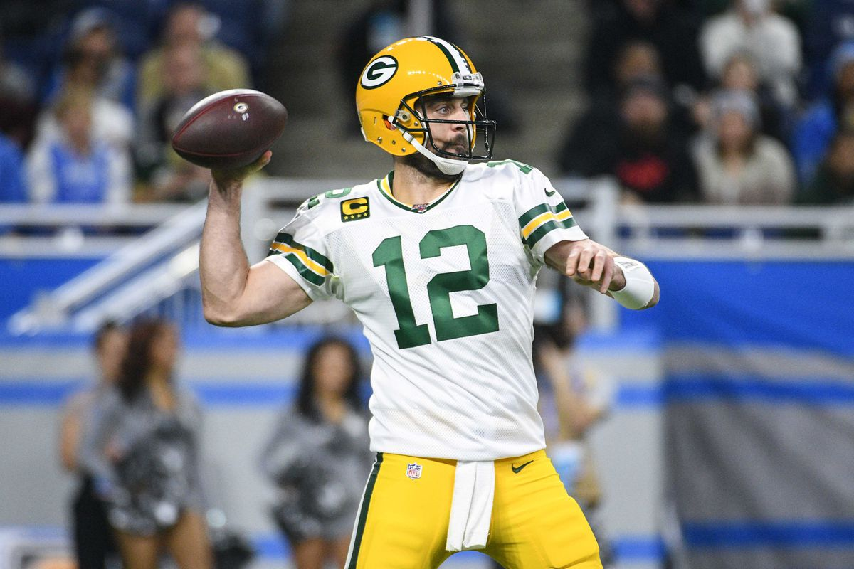 Green Bay Packers quarterback Aaron Rodgers throws the ball during the first quarter against the Detroit Lions at Ford Field.