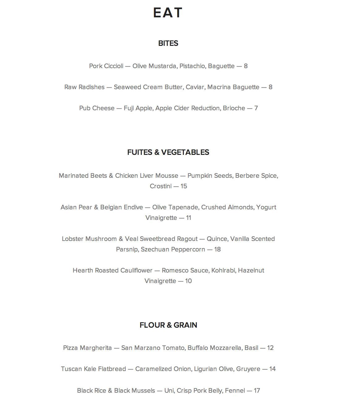 single shot menu 1