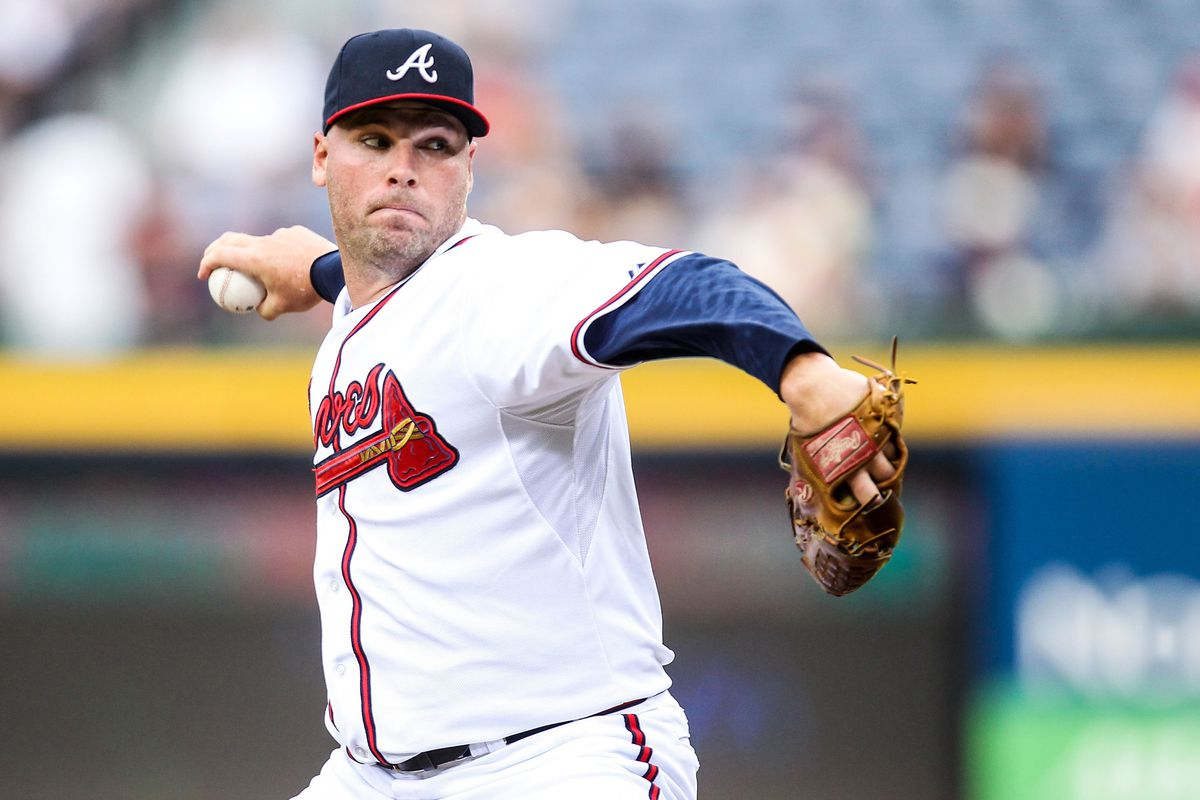August 1, 2012; Atlanta, GA, USA; Atlanta Braves starting pitcher Ben Sheets (30) pitches in the first inning against the Miami Marlins at Turner Field. Mandatory Credit: Daniel Shirey-US PRESSWIRE