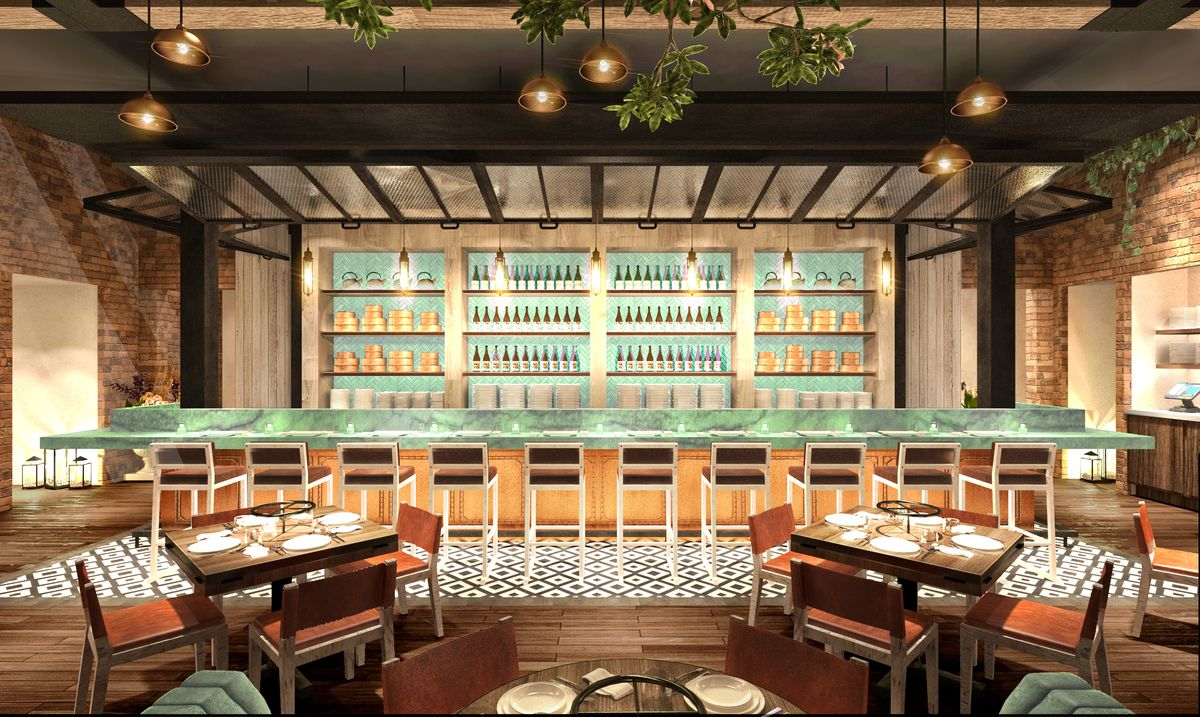 A rendering of the sushi bar at Catch