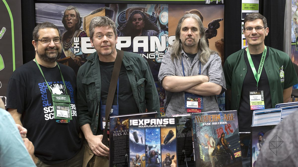 Left to right: founder and president of Green Ronin Publishing Chris Pramas, authors Daniel Abraham and Ty Franck, and lead designer Steve Kenson.