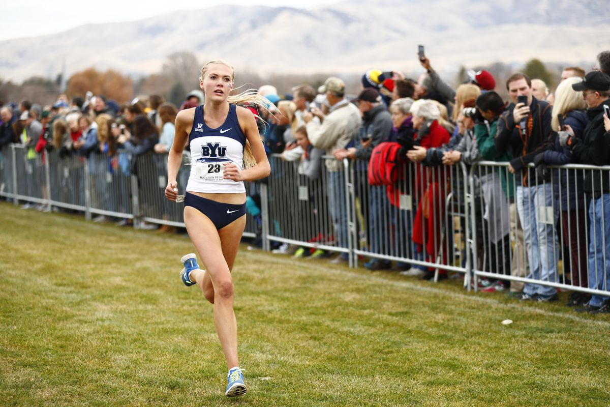 Olivia Hoj competing for BYU at the 2017 Mountain Region Championships.