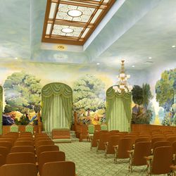 An artistic rendering of the renovated Garden Room in the Salt Lake Temple.