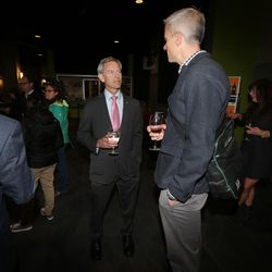 Salt Lake City Mayor Ralph Becker talks with Matt Sibul while at his election night party at Club 50 West in Salt Lake City on Tuesday, Nov. 3, 2015.