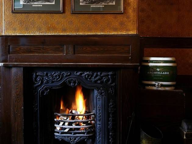Fireplace at The Hollybush in Hampstead, one of London's best restaurants with a fireplace