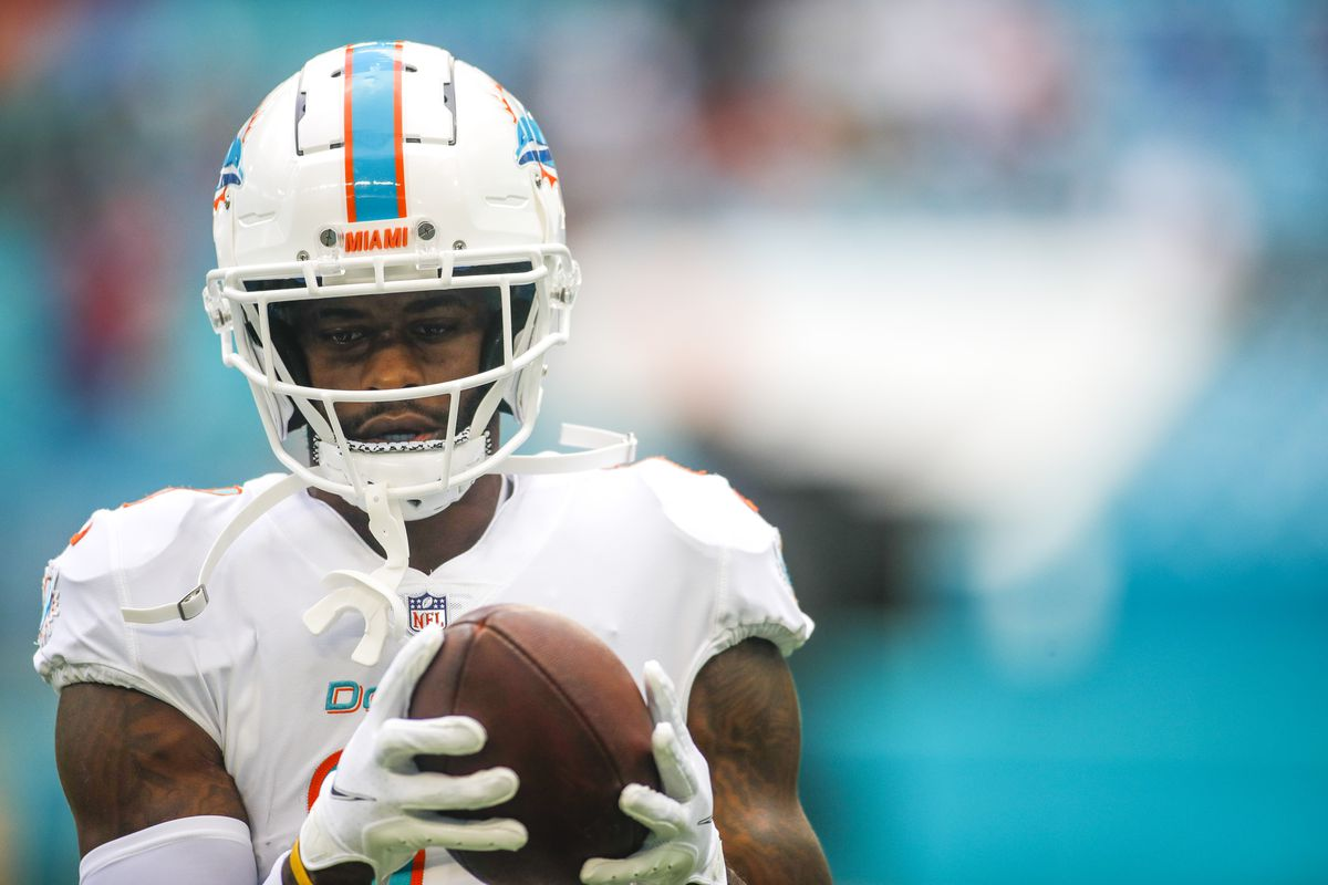 Miami Dolphins wide receiver DeVante Parker (11) catches a football during a warmup exercise prior the game against the Buffalo Bills at Hard Rock Stadium.