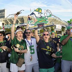 January 7 2013: Notre Dame fans tailgate prior to the Alabama Crimson Tide versus Notre Dame Fighting Irish in the Discover BCS National Championship Game at Sun Life Stadium in Miami Gardens, Florida.