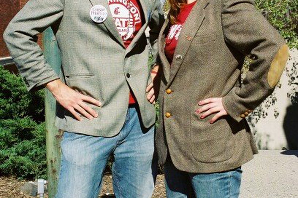 Stephanie Powers (right) poses in a ridiculous outfit with her brother in support of the Washington State football team.