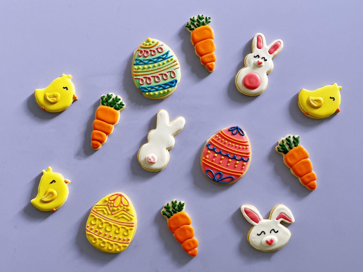 A variety of decorated shortbread cookies.