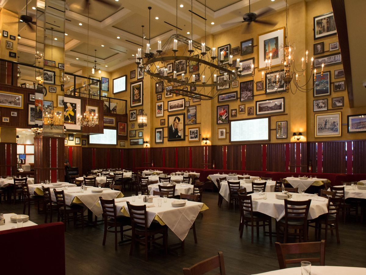 Restaurant interior with photos on walls