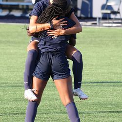UConn's Jada Konte #7 celebrates with Jaydah Bedoya #13 after scoring during the New Hampshire Wildcats vs the UConn Huskies exhibition women's college soccer game at Morrone Stadium at Rizza Performance Center in Storrs, CT, on Saturday August 14, 2021.
