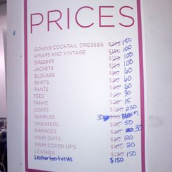 The updated price list.