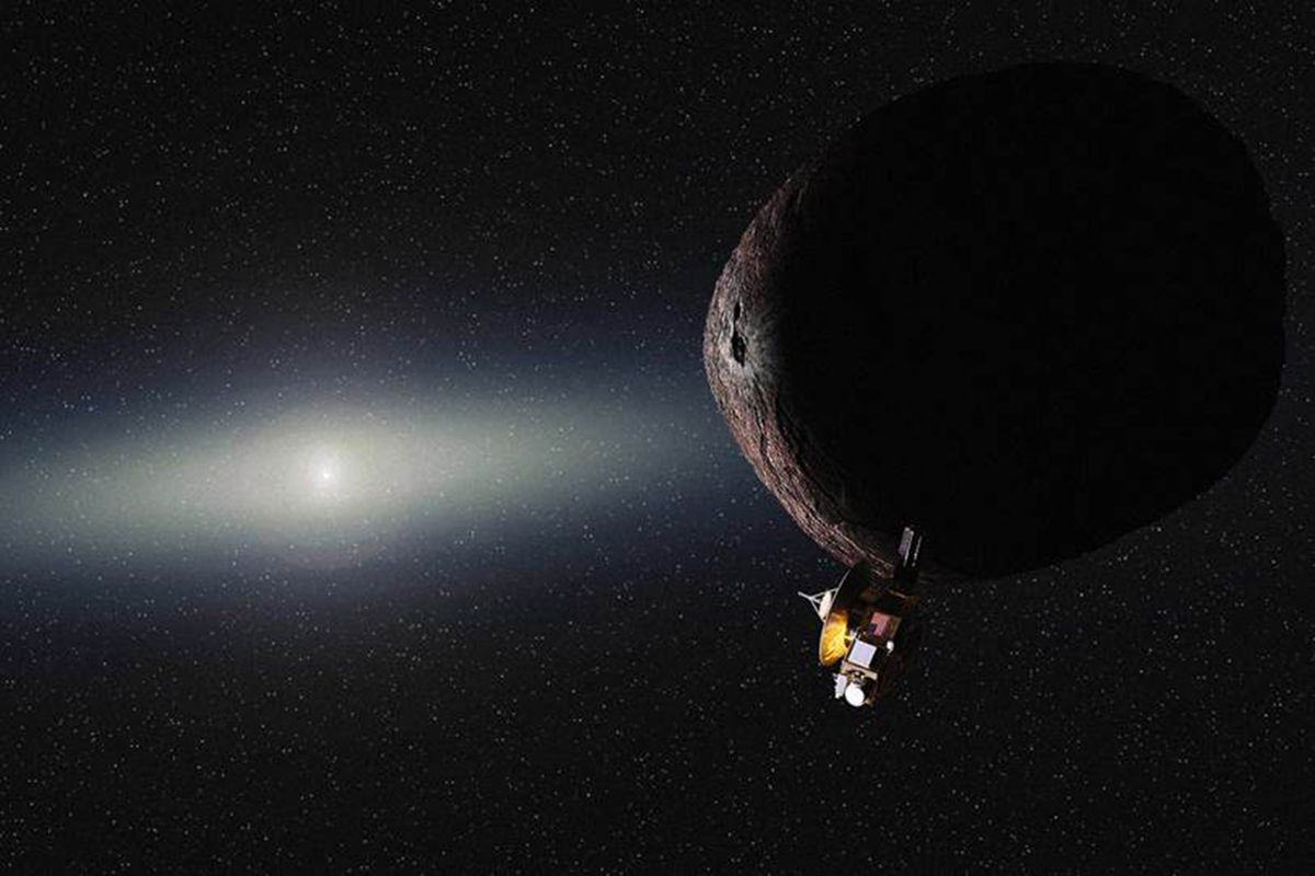 An illustration of 2014 MU69, the Kuiper belt object to be visited by New Horizons.