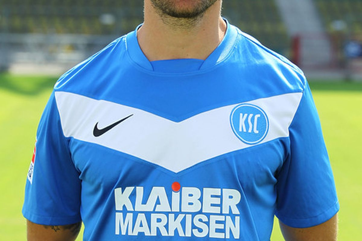 KARLSRUHE, GERMANY - JULY 05: Florian Lechner poses during the Second Bundesliga team presentation of Karlsruher SC at the Wildpark Stadium on July 5, 2011 in Karlsruhe, Germany.  (Photo by Thomas Niedermueller/Bongarts/Getty Images)