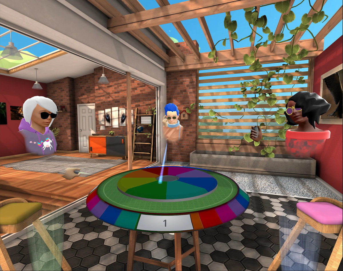 Virtual avatars play games in Oculus's app, Rooms.