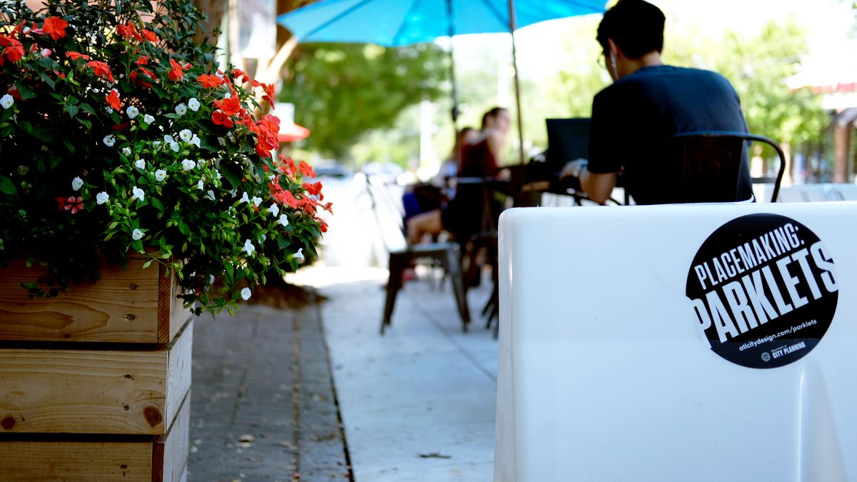 Taproom Coffee and Beer in Kirkwood now features parklet seating in front of the shop.