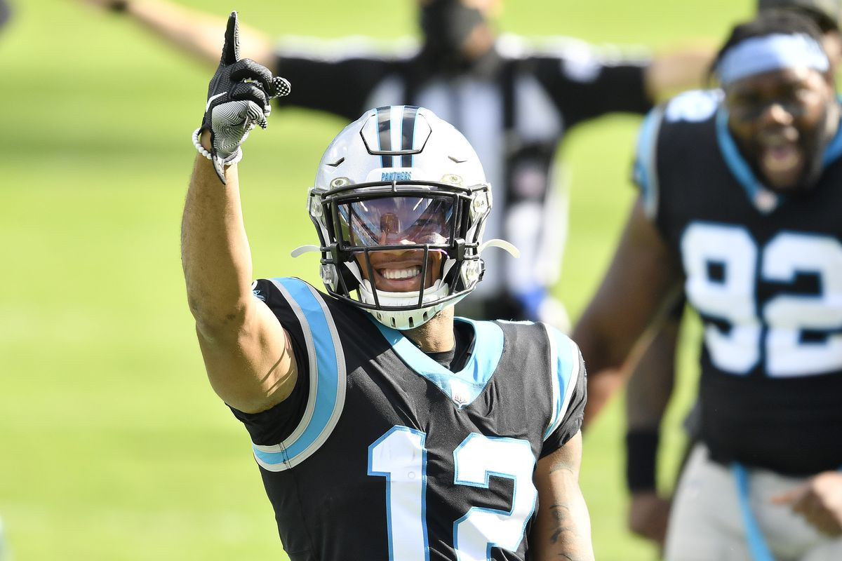 DJ Moore #12 of the Carolina Panthers reacts after a catch against the Tampa Bay Buccaneers during their NFL game at Bank of America Stadium on November 15, 2020 in Charlotte, North Carolina.