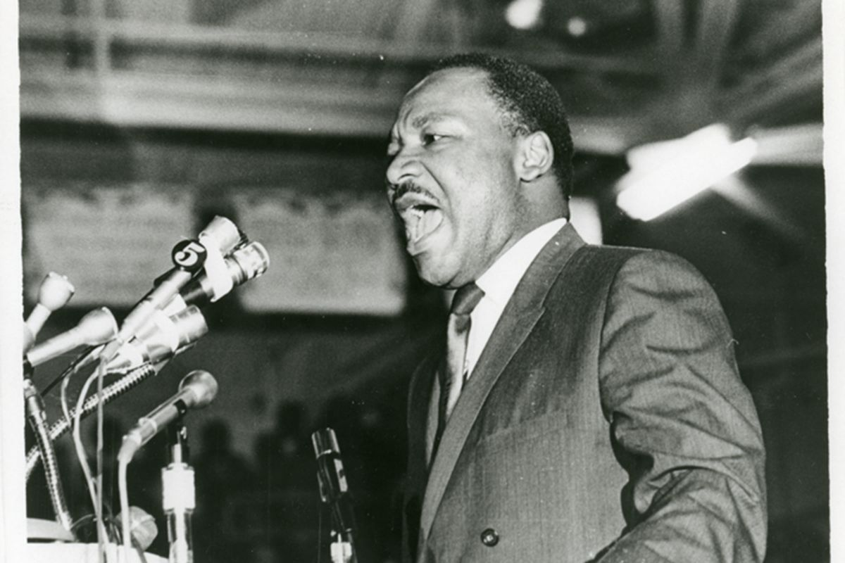 The Rev. Martin Luther King Jr. speaks to a mass rally in Memphis on April 3, 1968, one day before his assassination.
