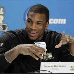 Kansas' Thomas Robinson speaks during a news conference for the NCAA Final Four tournament college basketball game Sunday, April 1, 2012, in New Orleans. Kansas plays Kentucky in the championship game Monday night.