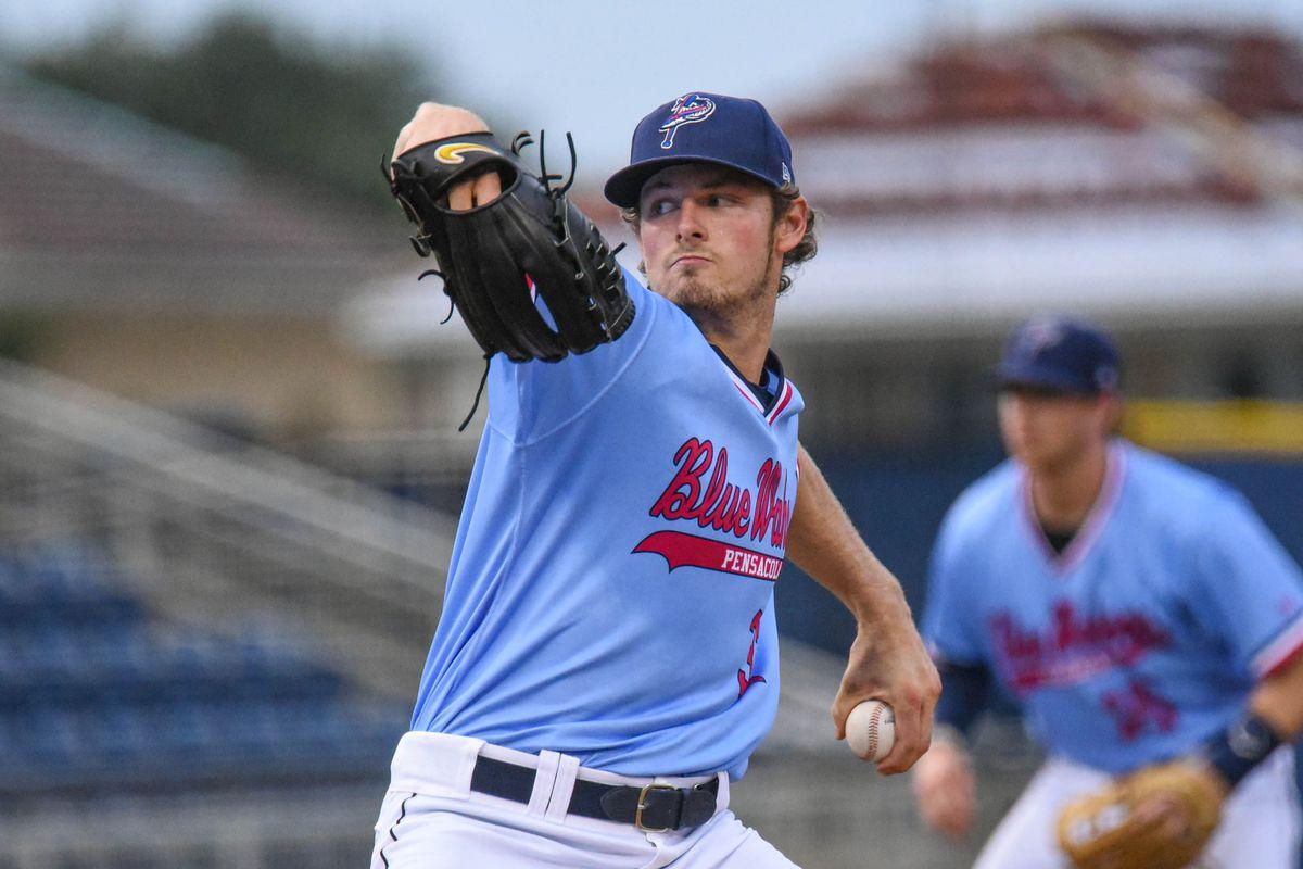 Left-handed pitcher Jake Eder delivers a pitch for the Pensacola Blue Wahoos