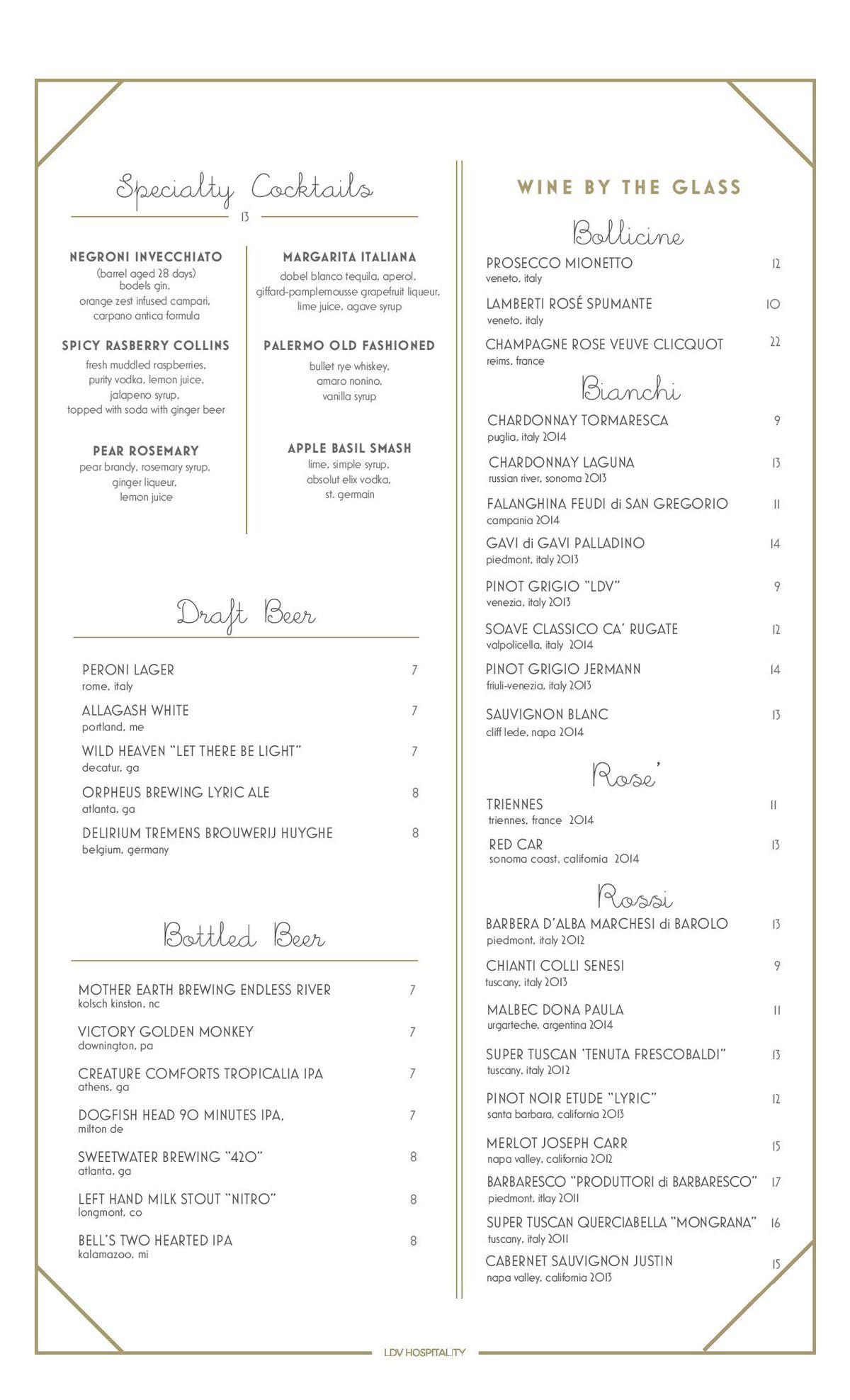 Dolce Italian menu 2