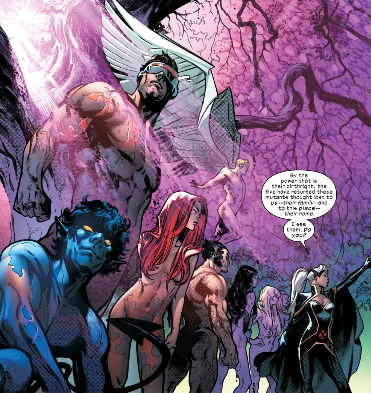 The X-Men stand, naked and still slathered with orange egg goo, in the dawn of a new mutant future, as Storm announces them to the Krakoan crowd, in House of X #5, Marvel Comics (2019).