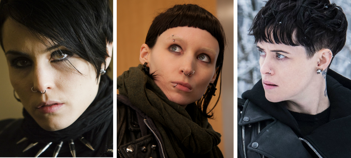 Noomi Rapace, Rooney Mara and Claire Foy as Lisbeth Salander in Girl With movies