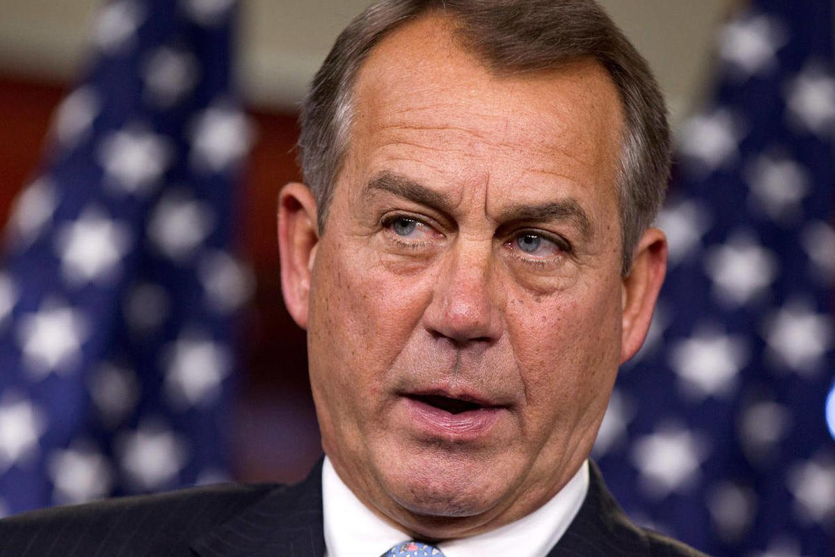 """FILE - In this March 29, 2012 file photo, House Speaker John Boehner of Ohio takes questions during a news conference on Capitol Hill in Washington. Boehner says President Barack Obama """"checked out"""" last Labor Day and has been campaigning ever since. Boeh"""