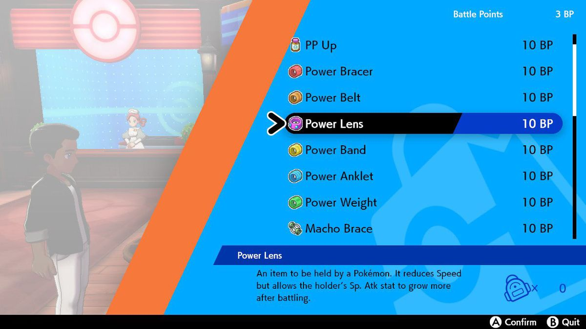 A shop menu in Pokémon Sword and Shield shows that you can buy the power items, the Macho Brace, and some vitamins