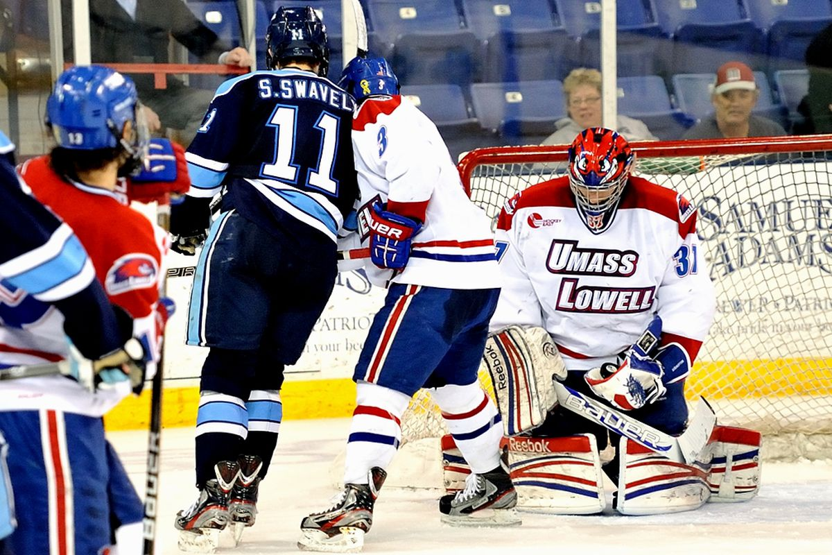 Connor Hellebuyck has led Lowell to the Hockey East semifinals in his first year with the River Hawks. UML completed a sweep of Maine on Friday night, 2-1 in overtime.
