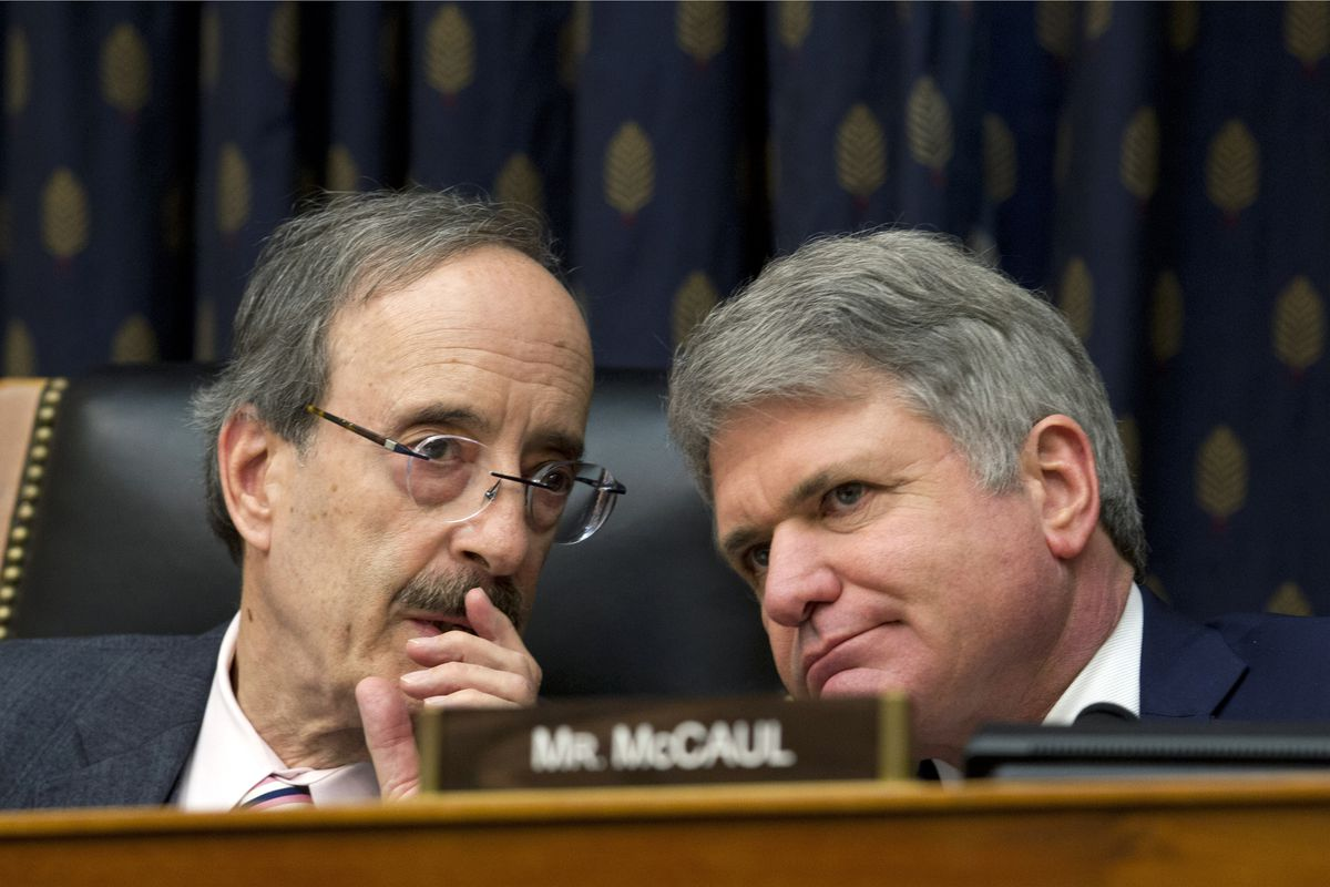 FILE - In this Feb. 13, 2019 file photo, House Foreign Affairs Committee Chairman Rep. Eliot Engel D-N.Y., left, speaks with Ranking member Rep. Michael McCaul, R-Texas during the House Foreign Affairs subcommittee hearing in Washington. The House has vot