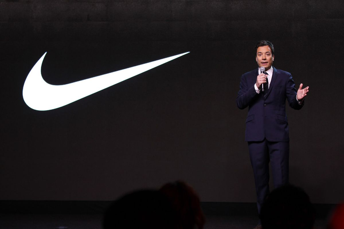 NEW YORK, NY - JANUARY 19:  Host Jimmy Fallon speaks on stage during the unveiling of the NIKE+ FuelBand at Highline Stages on January 19, 2012 in New York City.  (Photo by Neilson Barnard/Getty Images)