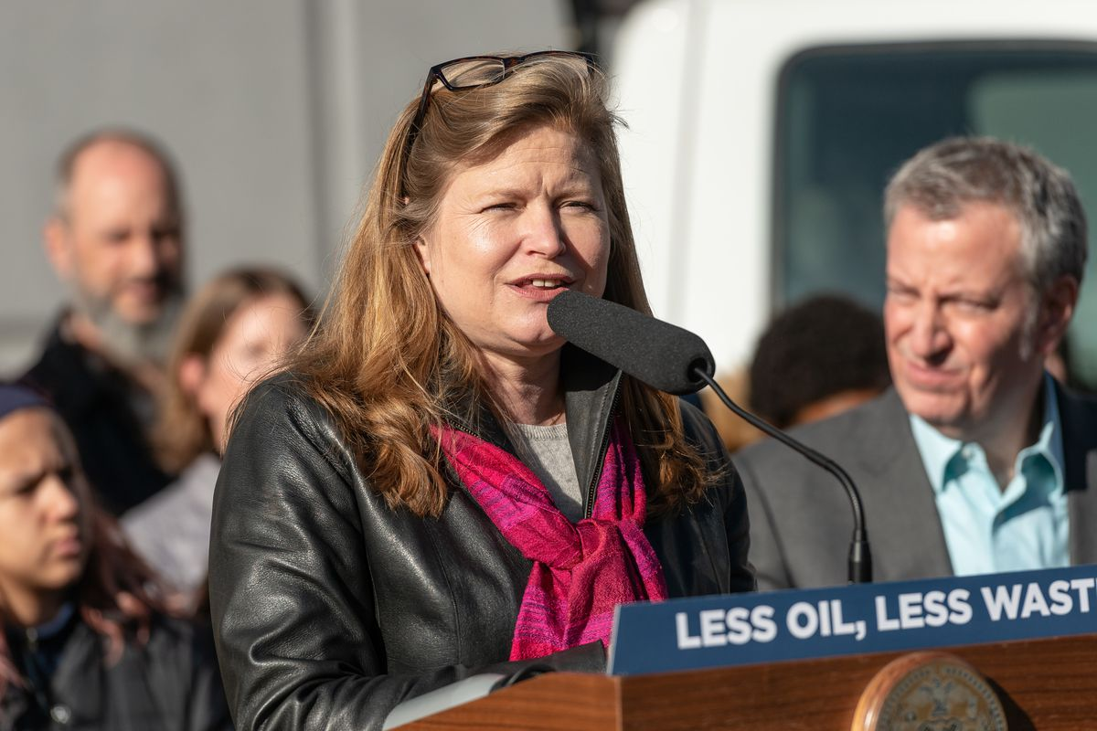 NYC Sanitation Commissioner Kathryn Garcia is seen during a press conference standing at a podium