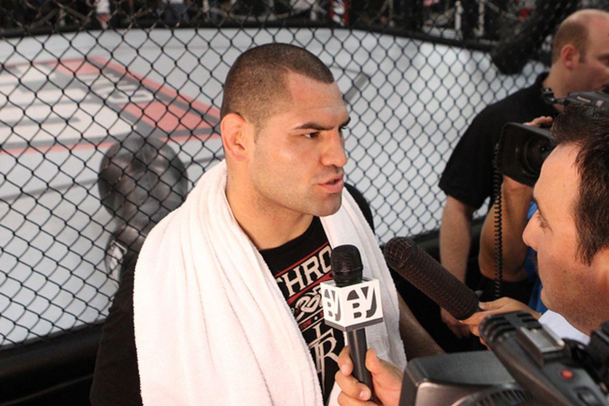 ROSEMEAD CA: Cain Velasquez answers questions at the UFC Gym in Rosemead California. (Photo by Josh Hedges/Zuffa LLC/Zuffa LLC via Getty Images)