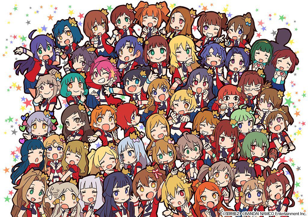 Dozens of small idol girls pose together for a huge group shot