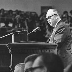 Elder Haight speaks in 1976 after joining the Quorum of the Twelve.