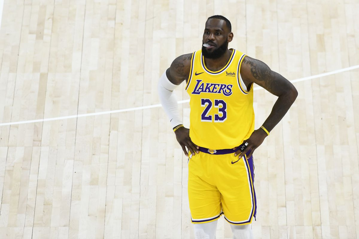 LeBron James of the Los Angeles Lakers in action during a game against the Utah Jazz at Vivint Smart Home Arena on February 24, 2021 in Salt Lake City, Utah.