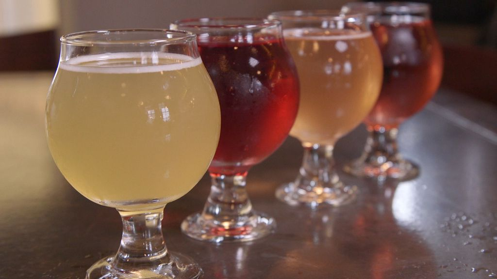 A flight of ciders served at Eris Brewery and Cider House in Old Irving Park. | Brian Rich/For the Sun-Times