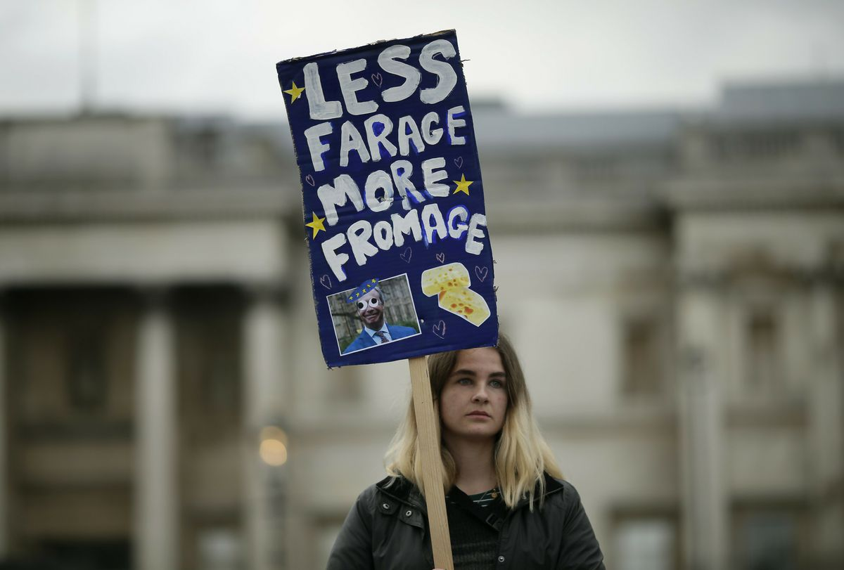 "A demonstrator holds a placard that reads ""Less Farage, More Fromage"" during a People's Vote anti-Brexit march in London on March 23, 2019."