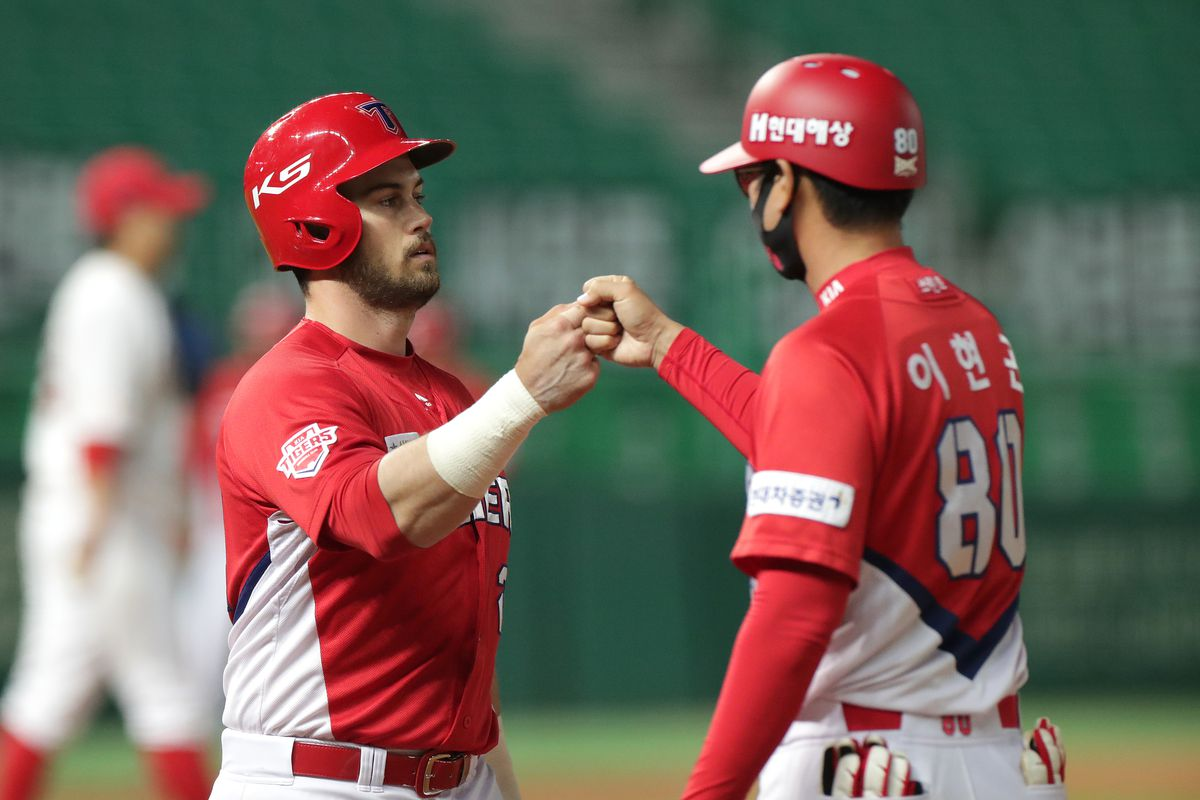 Outfielder Tucker Preston of KIA Tigers reacts in the top of the ninth inning during the KBO League game between KIA Tigers and SK Wyverns at the Incheon SK Happy Dream Park on May 23, 2020 in Incheon, South Korea.